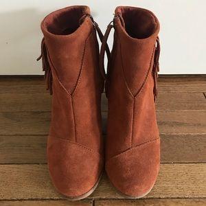 Toms Tan Suede Fringe Boots